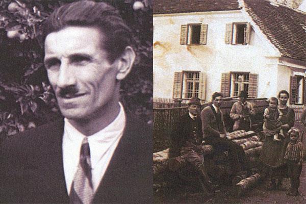 Portrait Links: Franz Weitzer, Bild rechts: Sägewerk mit Mitarbeiter